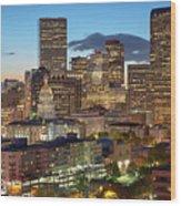 Denver Skyline Evening Panoramic Wood Print