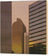 Denver Skyline Of Glass Wood Print