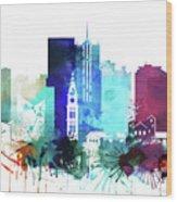 Denver Watercolor Skyline Wood Print