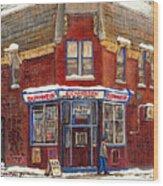 Depanneur De Montreal Pointe St Charles Best Original Montreal Paintings On Sale Peintures A Vendre  Wood Print