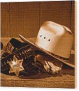 Deputy Sheriff Gear - Sepia Wood Print