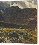 Der Hintere Murgsee. St. Galler Alpen. 1878 Wood Print