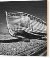 Derelict Boat Wood Print