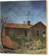 Derelict House Front Wood Print
