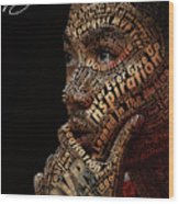 Derrick Rose Typeface Portrait Wood Print by Dominique Capers