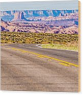 descending into Monument Valley at Utah  Arizona border  Wood Print