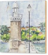 Desenzenzo Lighthouse And Marina In Italy Wood Print