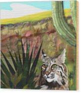 Desert Bobcat Wood Print