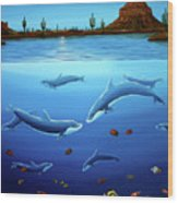 Desert Dolphins Close  Wood Print by Lance Headlee