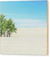 Desert Green Trees Wood Print