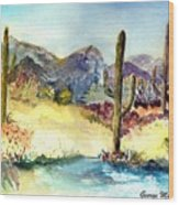 Desert In The Morning Wood Print