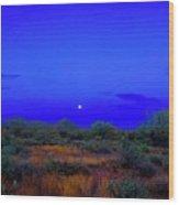 Desert Moon Scape Wood Print