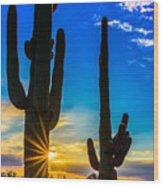 Desert Morning Sunrise Wood Print