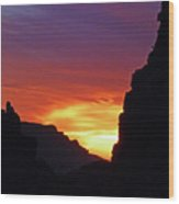Desert Mountain Sunset Wood Print