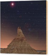 Desert Night Wood Print by Inigo Cia