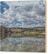 Desert River Cloud Reflection Wood Print