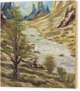 Desert River Wood Print