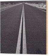 Desert Road Trip B W Wood Print