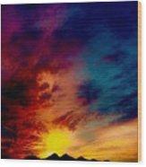 Desert Skull Of The Saguaro Sunset #3 Wood Print