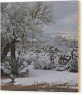 Desert Snow Wood Print
