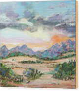 Desert Sunrise Wood Print by Lucinda  Hansen
