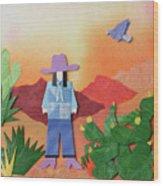 Desert Sunrise By Mary Ellen Palmeri Wood Print