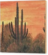 Desert Sunset I Wood Print