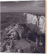 Desert View At Grand Canyon Arizona Bw Wood Print