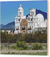 Desert View - San Xavier Mission - Tucson Arizona Wood Print