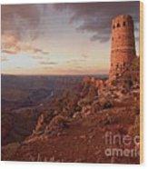 Desert Watchtower At Sunset Wood Print