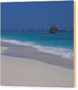 Deserted Beach In Bermuda Wood Print