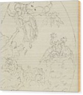 Design For A Ceiling Painting With A Triumph Of Minerva, In Oval, Dionys Van Nijmegen Possibly, 17 Wood Print