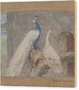 Design For A Dessus De Porte Branch With Peacock And Other Birds, August Allebe, 1874 Wood Print