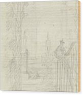 Design For A Garden View With A Peacock On A Fence, Dionys Van Nijmegen Possibly, 1715 - 1798 Wood Print