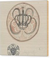 Design For A Plate With Crown And Monogram, Carel Adolph Lion Cachet, 1874 - 1945 Wood Print