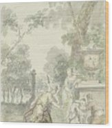 Design For A Room Piece Dorinda Returns Silvio His Dog, Dionys Van Nijmegen, 1715 - 1798 Wood Print