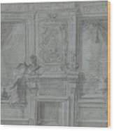 Design For A Room Wall With A Chimney Piece And Paintings, Cornelis Troost, 1720 - 1750 Wood Print