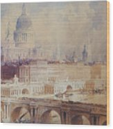 Design For The Thames Embankment, View Looking Downstream Wood Print