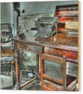 Desk Or Typewriter Wood Print