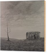 Desolate Bathtub Wood Print