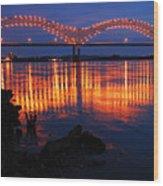 Desoto Bridge Refections Wood Print