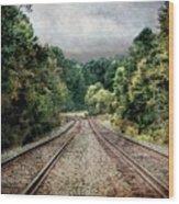 Destination Unknown, Travel Journey Train Tracks Wood Print