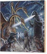 Destroy All Monsters Godzilla Kaiju Battle Monster Island  Wood Print
