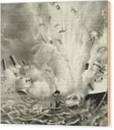 Destruction Of The Us Battleship Maine, 15th February, 1898 Wood Print