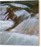 Detail Cascade Fall River Wood Print