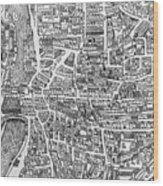 Detail From A Map Of Paris In The Reign Of Henri II Showing The Quartier Des Ecoles Wood Print
