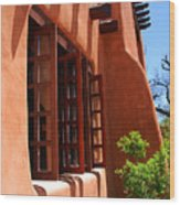 Detail Of A Pueblo Style Architecture In Santa Fe Wood Print