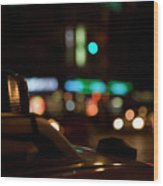 Detail Of A Taxi At Night, New York City, Usa Wood Print by Frederick Bass