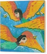 Detail Of Bird People Little Green Bee Eaters Of Upper Egypt 1 Wood Print