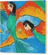 Detail Of Bird People Little Green Bee Eaters Of Upper Egypt 2 Wood Print